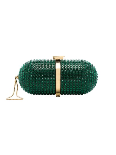 Marzook Green Crystal Embellished Pill Clutch