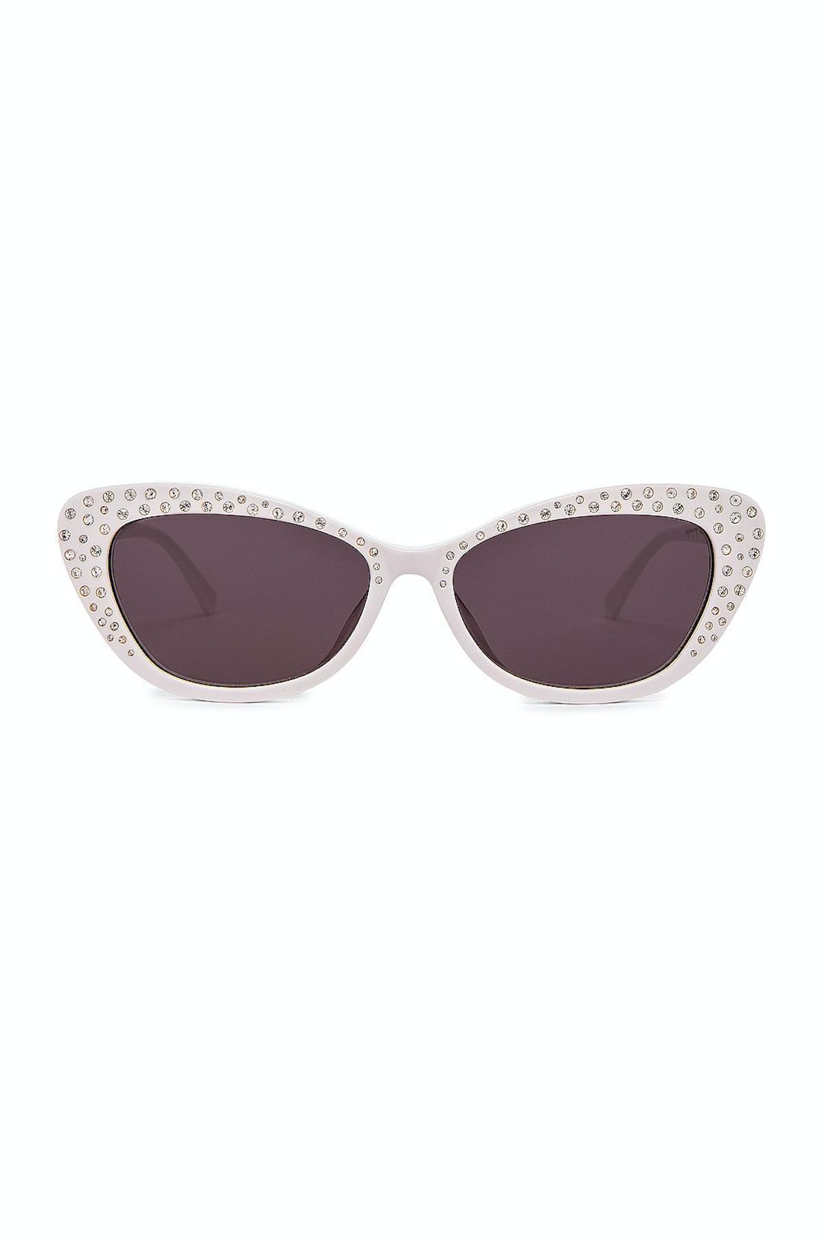Franky White Crystal Sunglasses
