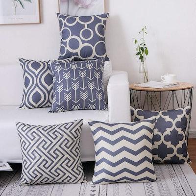 famibay Tartan Linen Throw Pillows (Set of 6)