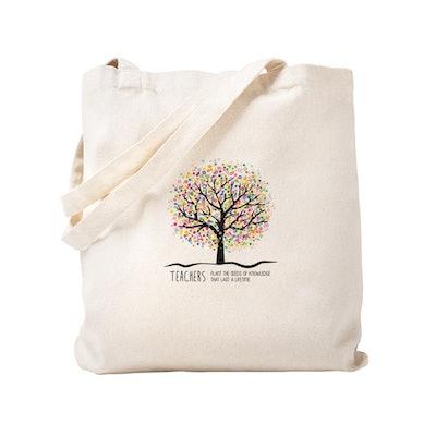 Teacher Appreciation Quote Natural Canvas Tote Bag