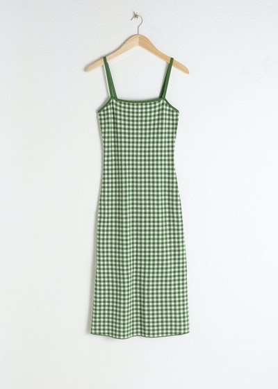Fitted Gingham Midi Dress