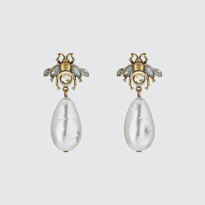 Bee Earrings with Drop Pearls