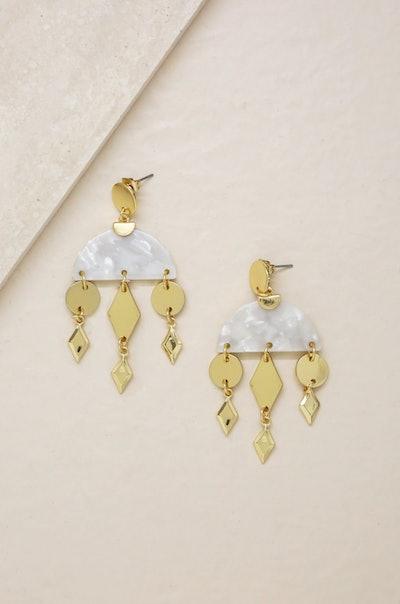Geometric Gold & Resin Dangle Earrings in White