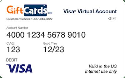 VISA Virtual Account Gift Card