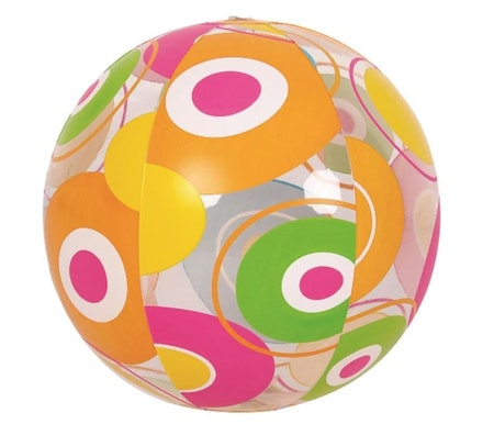 "Pool Central 20"" Inflatable Colorful 6-Panel Circle Print Beach Ball"