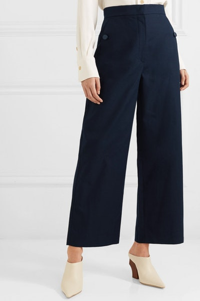 Cotton And Linen-Blend Canvas Wide-Leg Pants
