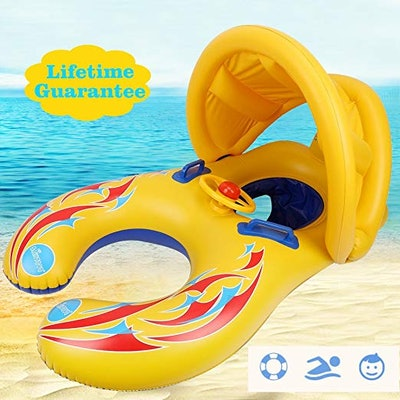 Mommy & Baby Pool Float with Canopy