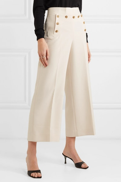 Button-Embellished Cropped Crepe Wide-Leg Pants