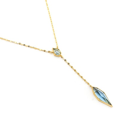 Gold Chain Necklace With Stone Drop