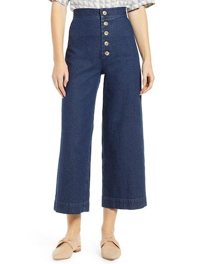 Sailor High Waist Crop Wide Leg Jeans