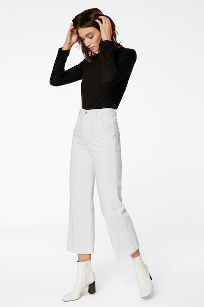 Joan High-Rise Wide-Leg Cropped Trouser In White