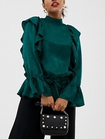 Waisted Long Sleeve Blouse With Ruffle Detail