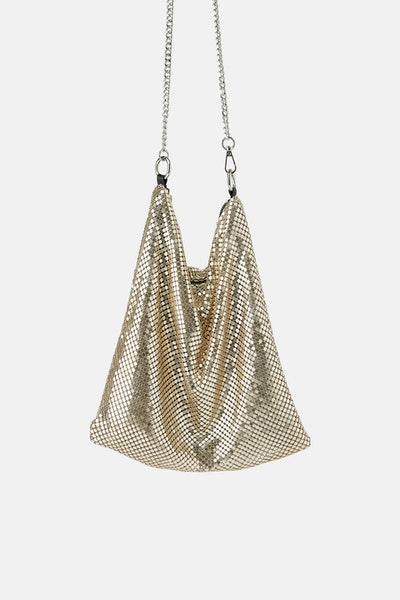 Metallic Mesh Crossbody Bag