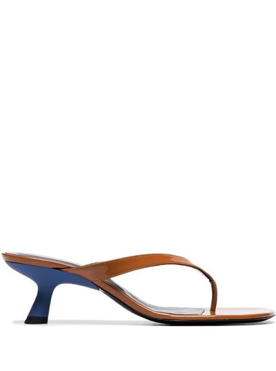 Brown Beep 45 Patent Leather Thong Sandals