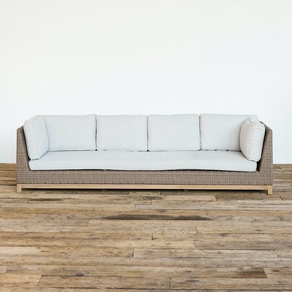 Teak Base All Weather Wicker Four Seat Sofa