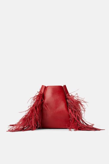 Feathered Leather Bucket Bag