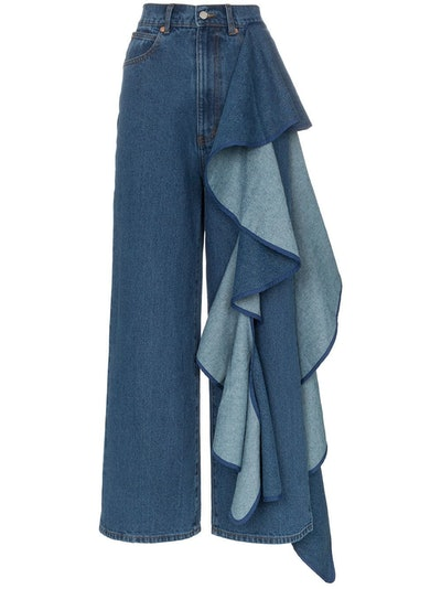 Tay High-Waisted Wide Leg Ruffle Detail Jeans