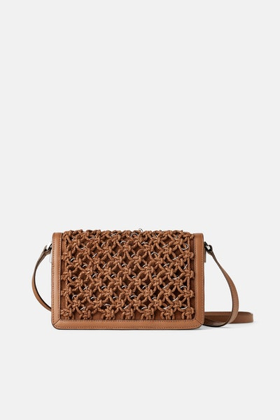 Woven Leather Crossbody Bag with Metal Trim