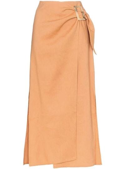 High-Waisted Wrap Style Midi Skirt