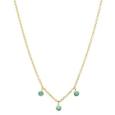 3 Turquoise Mini Bezel Dangle Necklace