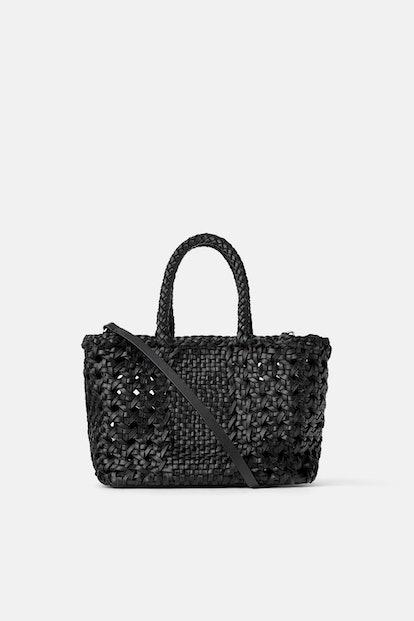 Woven Leather Mini Shopper