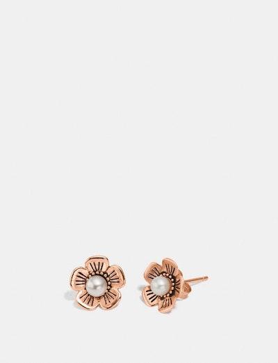 Freshwater Pearl Tea Rose Earrings