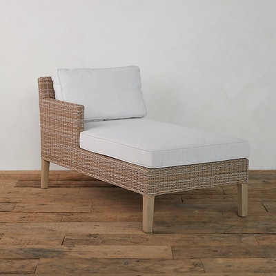 Wicker + Teak Chaise, Left Arm Facing