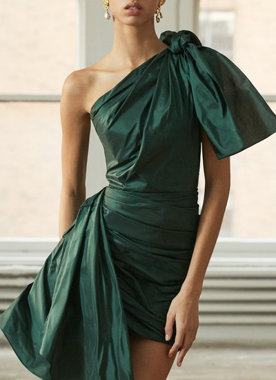 Asymmetric One-Shoulder Silk-Taffeta Mini Dress