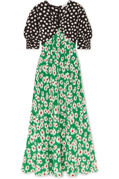 Martha Printed Silk Crepe De Chine Midi Dress