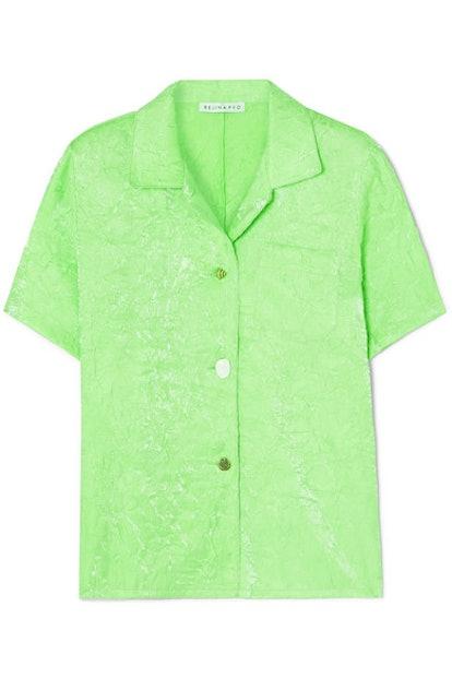 Mila Crinkled-Satin Shirt