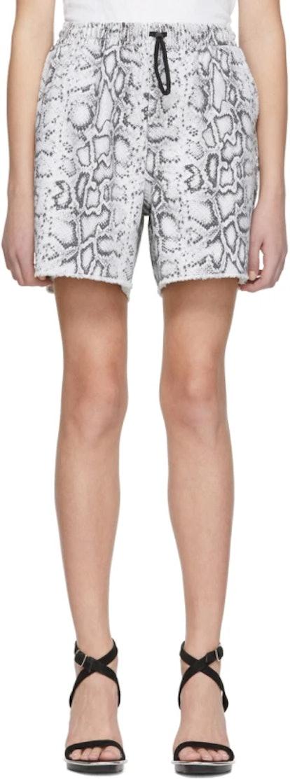 Grey Denim Python Jogger Shorts