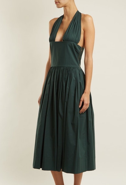Tie-Neck Stretch-Cotton Dress