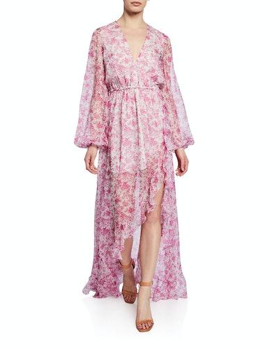 Liv Floral Chiffon Slit Gown