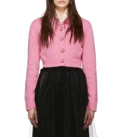 Pink Cropped Knit Cardigan