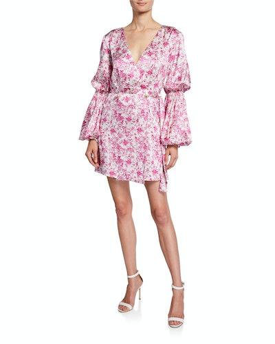 Doria Silk Puff-Sleeve Mini Dress