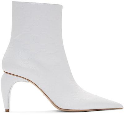 White Monogram Embossed Slicer Boots