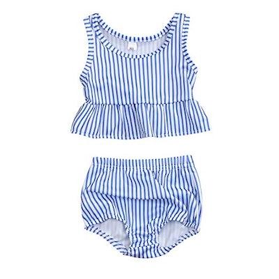 Sleeveless Striped Swimsuit