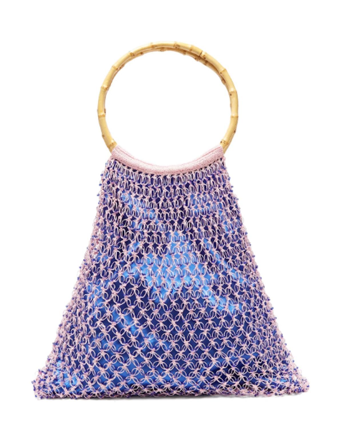 Aphrodite Bamboo-Handle Beaded Crochet Bag