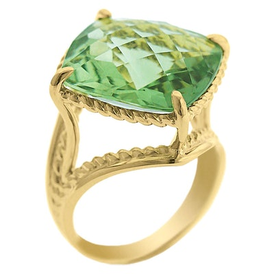 Prasiolite Ring in 14K Yellow Gold
