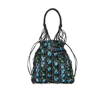 Printed Fabric and Mesh Bag