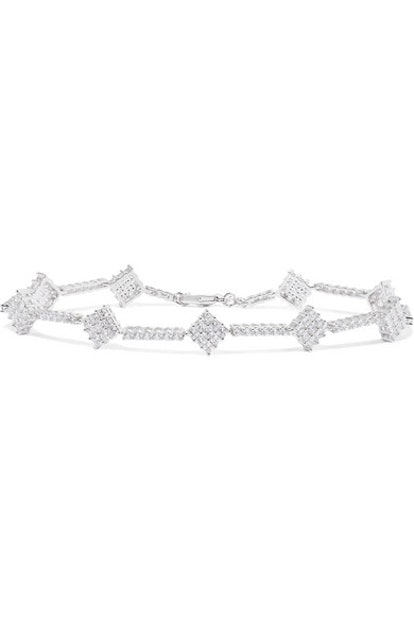 Silver-Tone Cubic Zirconia Anklet