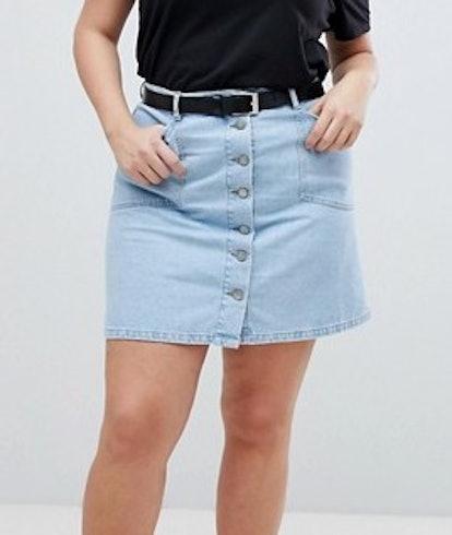 Denim Button Through Skirt In Midwash Blue