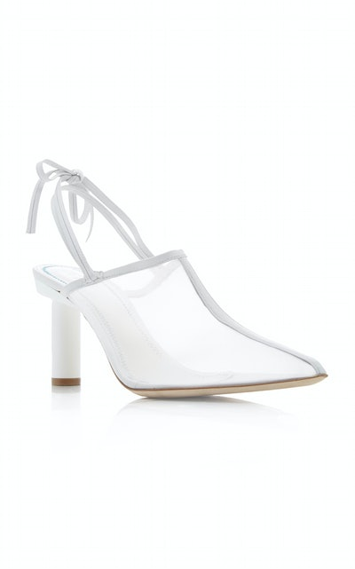 Jessie Tie-Detailed Leather and Mesh Mule