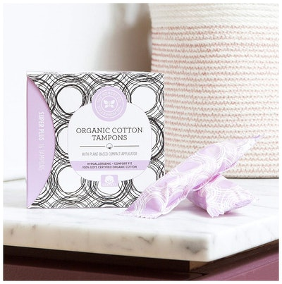 The Honest Company Organic Cotton Tampons with Plant-Based Compact Applicator, Super Plus