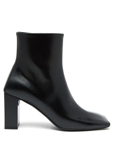 Double Square Block-Heel Leather Boots