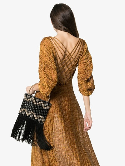 Black Janice Bead Tassel Bag