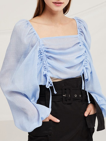 Eva Ruched Drawstring Sheer Blouse