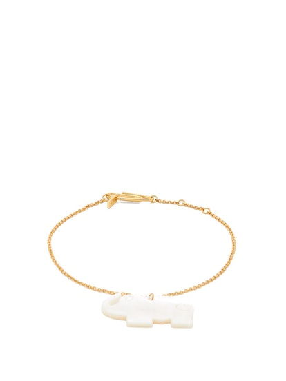 Mother Of Pearl And Gold-Plated Metal Anklet