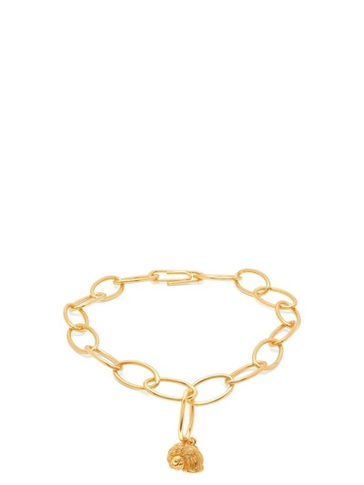 Twist Seashell-Charm Gold-Plated Anklet