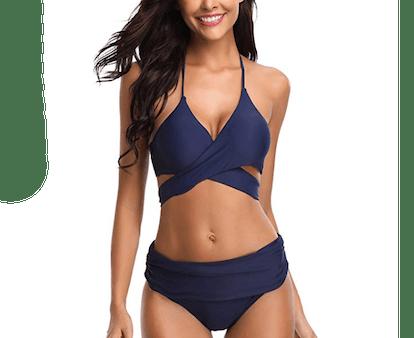 Shekini Push-Up Halter With High-Waisted Bottoms Bikini